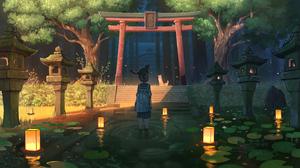 Anime Girls Schoolgirl Original Characters Water Cats Torii Lantern Pasoputi 3840x2160 Wallpaper