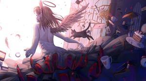 Anime Anime Girls Wings Cats Nimbus Cake Letter Pen Laptop Rings Skirt Feathers Fork Shoulder Length 1920x978 Wallpaper