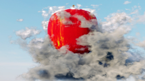Red Apple Clouds 3D Abstract Abstract 3D Graphics Blender Procedural Generation 1920x1080 Wallpaper