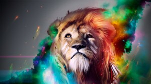 Artistic Colorful Lion 2560x1440 Wallpaper