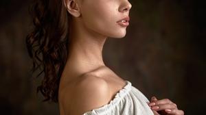 Max Pyzhik Women Radmila Dzhanaeva Brunette Long Hair Wavy Hair Looking Away Bare Shoulders White Cl 1728x2160 Wallpaper