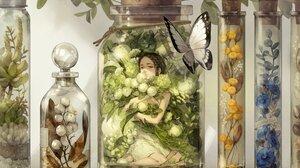 Anime Anime Girls Butterfly Plants Flowers Dark Hair Looking At Viewer Jar Dark Eyes 2480x1748 Wallpaper