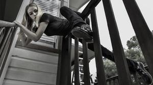 Women Model Outdoors Looking At Viewer Nose Ring Nose Rings Blonde Long Hair T Shirt 2048x1152 Wallpaper