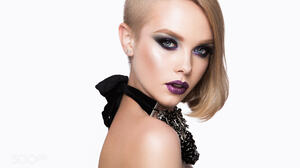 Blonde Portrait White Background Makeup Women Model Eyeshadow Side Shave 2048x1365 Wallpaper