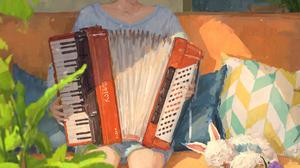 XilmO Anime Girls In Sofa Pink Hair Accordions Anime Women Women Indoors Musical Instrument 1754x2481 Wallpaper