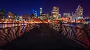 Building City Night Pier San Francisco 2048x1221 Wallpaper