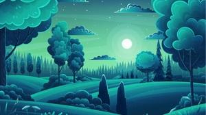 Artwork Vector Forest Hills Trees Moon Night Landscape Green Sky Clouds Cartoon Stars Flowers Moonli 6000x4081 Wallpaper