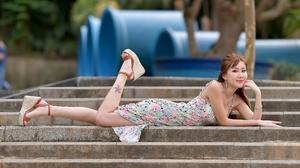 Asian Model Women Long Hair Dark Hair Flower Dress Lying Down Stairs Platform Shoes Tattoo Depth Of  3840x2504 Wallpaper