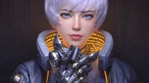 Huifeng Huan CGi Women Androids Short Hair Purple Hair Bangs Blue Eyes Jacket Cyberpunk Mask 3072x3072 Wallpaper