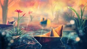 Flower Paper Boat Rain 1920x1080 Wallpaper