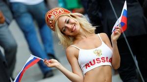 Russian Women Flag Smiling Women Blonde Looking Away Red Lipstick Makeup 2560x1833 wallpaper