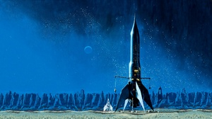 Artwork Painting Science Fiction Space Ship Blue Moon 1920x1080 Wallpaper