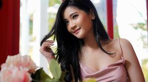 Asian Women Long Hair Black Hair Depth Of Field Pink Dress Window Flowers Curtain Smiling 3000x2000 Wallpaper