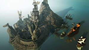 Boat Building Dragon Island Minecraft Mojang Mountain Ocean Video Game Village 1920x1080 Wallpaper