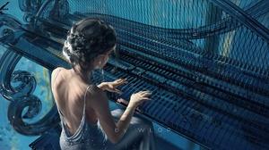 WLOP Fantasy Girl Ghost Blade Musical Instrument 4K Original Characters Artwork Women Dress 5120x2560 Wallpaper