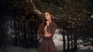 Women Women Outdoors Brunette Winter Forest Oleg Rodin Looking Away Nature 2560x1773 Wallpaper