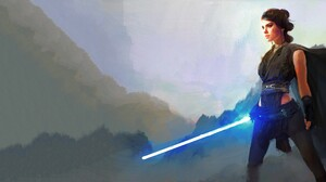 Rey Star Wars Jedi Lightsaber Artistic Woman Warrior Daisy Ridley Star Wars The Last Jedi 5120x2160 wallpaper