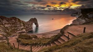 Earth Nature Coast Coastline Steps Arch Beach Sunset Rock Ocean Durdle Door Limestone Dorset England 1920x1080 Wallpaper