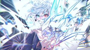 Anime Anime Girls Blonde Heterochromia Short Hair Broken Glass Flowers White Background Looking Away 2335x1421 Wallpaper