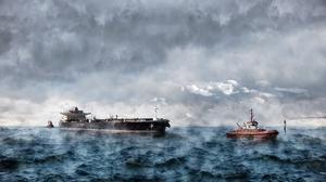 Cloud Ocean Ship Tanker Tugboat Vehicle 5000x2906 wallpaper