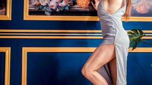 Asian Model Women Long Hair Dark Hair Silver Dress Pumps Bracelets Earrings Legs 2560x3840 Wallpaper