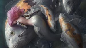Artwork Fantasy Art Mermaids Women Fish Animals Fantasy Girl Pink Hair Long Hair Underwater 2560x1919 Wallpaper
