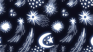 Abstract Stars Pattern Artwork Moon Dark Lights Sky Space Digital Art Shiny Comet Vector Blue 8000x4000 Wallpaper