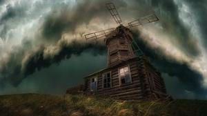 Cloud Thunderstorm Windmill 2472x1648 Wallpaper