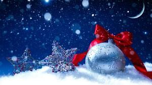 Christmas Ornaments Silver Star Sparkles Snow Ribbon 4322x2960 Wallpaper