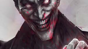 Evil Joker Smiling White Eyes Drawing Digital Art Digital Painting Fan Art Artwork Portrait Display  1515x2300 Wallpaper