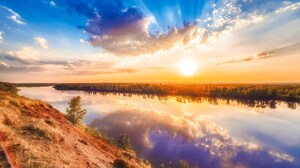 Nikitin Alexey Landscape Photography Outdoors Nature Sun Sunset Reflection Sky Clouds Trees Water 3333x2224 Wallpaper