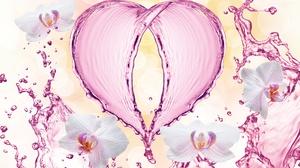 Bokeh Flower Heart Water 6441x3760 Wallpaper