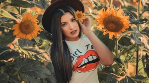 Black Hair Girl Hat Long Hair Model Sunflower Woman 2730x2137 Wallpaper