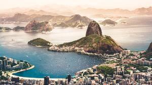 Rio De Janeiro Sunset Beach Boat Building City Coast 6000x4000 Wallpaper