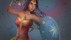 Black Hair Dc Comics Shield Wonder Woman 3000x2000 Wallpaper