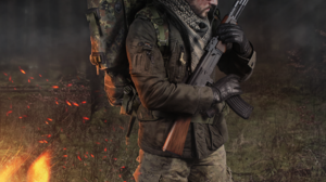 Mercenary Kabachek Forest Fire Mist Soldier Photo Manipulation 961x1440 Wallpaper