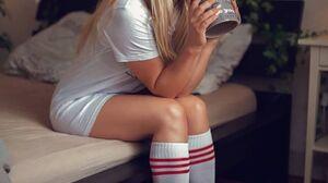 Women Blonde Socks Tiptoe Long Hair Bed Indoors Women Indoors Looking At Viewer 1080x1620 Wallpaper