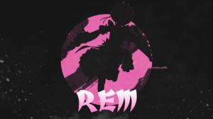 Rem Re Zero Rem 2D Anime Girls Minimalism Pink Chair Anime Dark Simple Background Black Background 1920x1080 Wallpaper