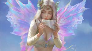Girl Artistic Wings Pan Flute 1920x1200 Wallpaper