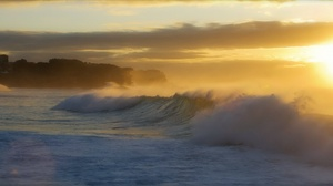 Wave Water Sunrise Sunbeam 1920x1080 Wallpaper