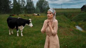 Andrey Metelkov Women Blonde Long Hair Straight Hair Coats Brown Clothing Hairband Earring Makeup Co 2048x1152 Wallpaper