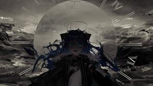 Anime Artwork Digital Art Monochrome Scary Face Demon Eyes Angel Halo Jacket Scarf Hair Bows White S 2488x955 Wallpaper