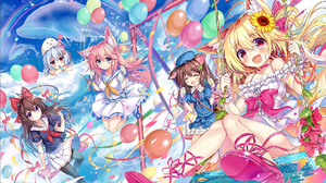 Balloon Blonde Brown Hair Dolphin Dress Flower Girl Nekomimi Pink Hair Rainbow School Uniform Sunflo 1920x1306 Wallpaper