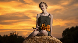 Women Model Sky Sitting Flowers Smiling Blonde Necklace Yellow Flowers Haystacks Plants Dress Painte 3840x2160 Wallpaper