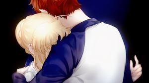 Fate Series Fate Stay Night 2D Anime Long Hair Short Hair Hugging Couple Redhead Blond Hair Braided  1063x1435 Wallpaper
