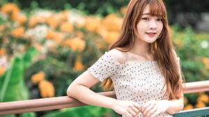 Asian Model Women Long Hair Brunette Depth Of Field Blouse Leaning Railings Flowers Jeans 1920x1280 Wallpaper