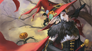 Fantasy Art Fantasy Girl Halloween Witch Hat Elf Ears Crow Pumpkin Yellow Eyes Black Hair Candy Mask 1485x1033 Wallpaper