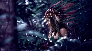 Bokeh Feather Girl Native American Woman 4500x2999 Wallpaper