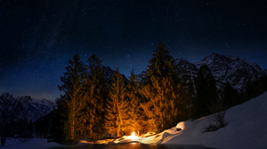 Bonfire Forest Man Nature Night Winter 2880x1800 wallpaper