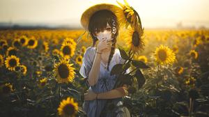 Anime Collage Sunflowers Field Anime Girls Braids Brunette Brown Eyes Straw Hat Dress 2560x1440 wallpaper